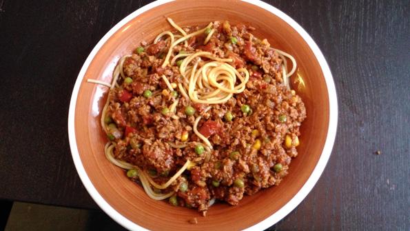 Spaghettiochfärssås